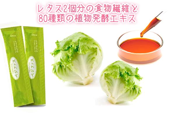 レタス2個分の食物繊維と 80種類の植物発酵エキス