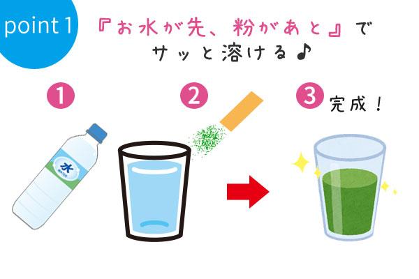 ポイント1:『お水が先、粉があと』でサッと溶ける♪
