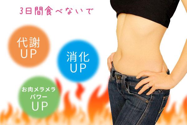 3日間食べないで、代謝UP、消化力UP、お肉メラメラパワーUP