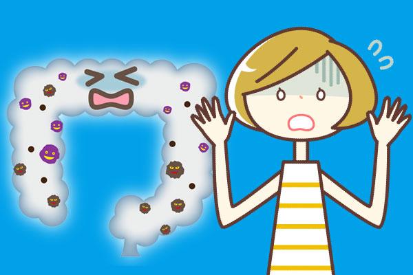 腸に毒が蔓延しているイメージ